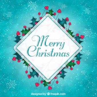 Blauer weihnachtshintergrund mit raute und misteln