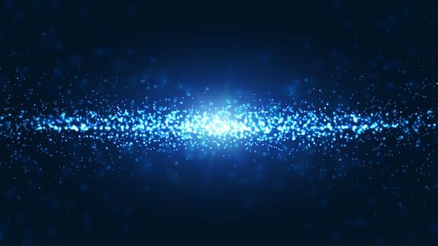 Blauer wellenförmiger und glänzender abstrakter partikelhintergrund.