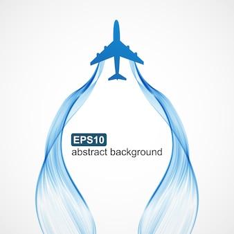 Blauer wellenrauchhintergrund des flugzeuges.