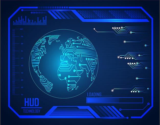 Blauer welt-hud-cyberstromkreis-zukünftiger technologiekonzepthintergrund