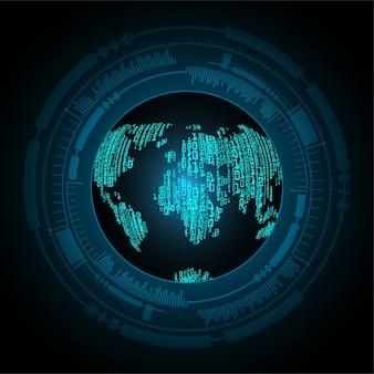 Blauer weltkarte-cyber-sicherheitskonzepthintergrund