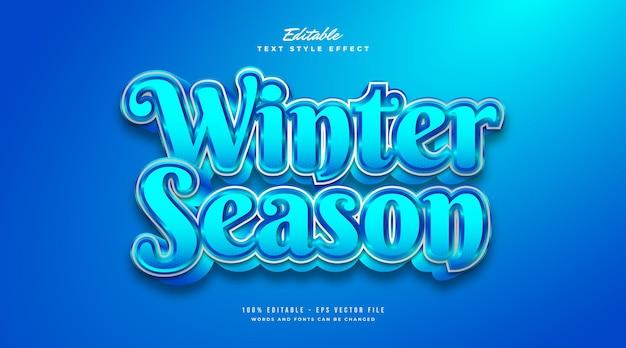 Blauer wintersaison-textstil mit kälte- und frosteffekt. bearbeitbarer textstileffekt