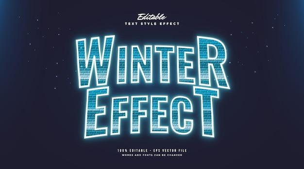 Blauer wintertextstil mit gefrorenem und leuchtendem effekt. bearbeitbarer textstileffekt