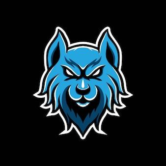 Blauer wolf-maskottchen-logo-design