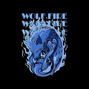 Blauer wolf, umgeben von flammenillustration und wolfsfeuer-schriftzug auf schwarzem hintergrund