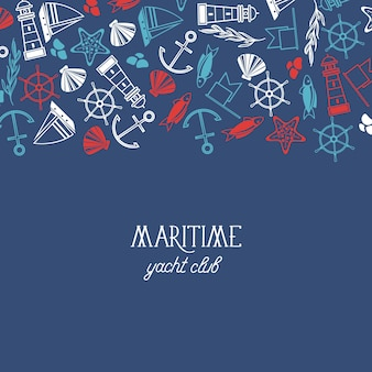 Blauer yachthintergrund des flachen entwurfs mit marineelementen auf oberer flacher illustration
