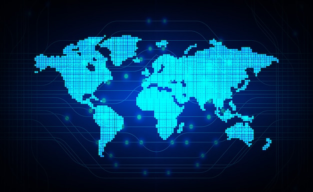 Blauer zukünftiger technologiekonzepthintergrund des cyberweltkreislaufs