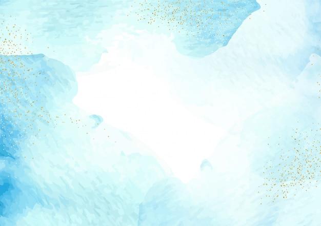 Blaues abstraktes aquarell und gold funkelt