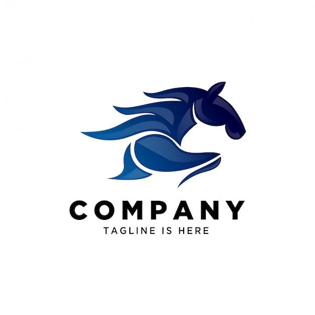Blaues abstraktes laufendes schnelles pferdgeschwindigkeitslogo