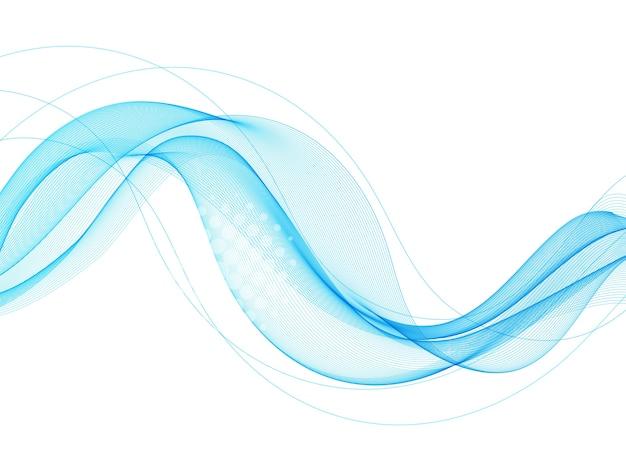 Blaues abstraktes wellengestaltungselement. rauchlinien