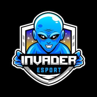 Blaues alien, maskottchen-logo