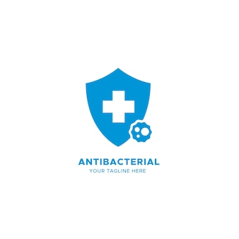 Blaues antibakterielles logo mit kreuz