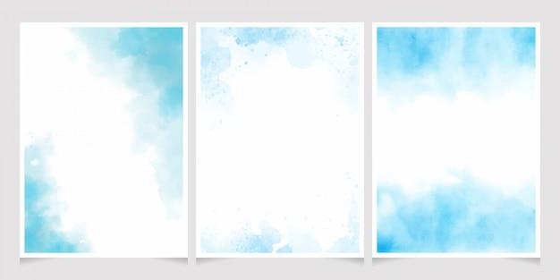 Blaues aquarellwäschespritzen mit goldener einladungskarten-schablonensammlung des rahmens 5x7