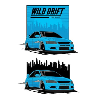 Blaues auto driftet über die stadt