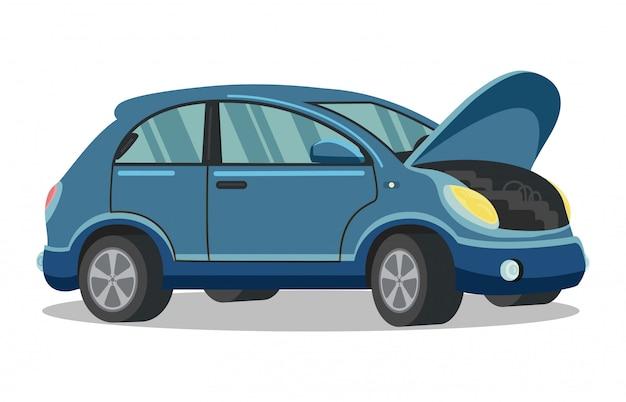 Blaues auto mit offener haube auf weiß