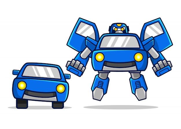 Blaues auto verwandelt sich in einen robotercharakter
