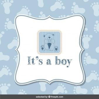Blaues baby-dusche-karte mit teddybär