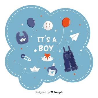 Blaues babyduschekonzept für jungen