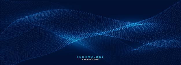 Blaues banner der technologie für digitale fließende partikel