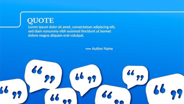 Blaues banner für zitat mit blasenzusammensetzung