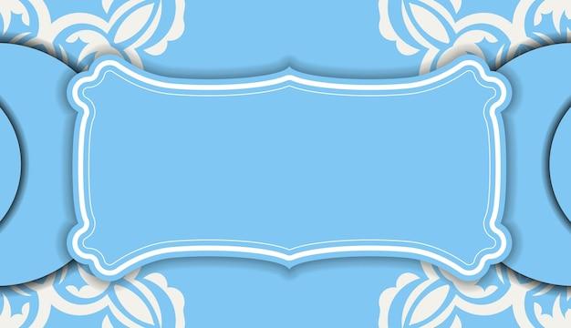 Blaues banner mit abstrakter weißer verzierung und platz für ihr logo