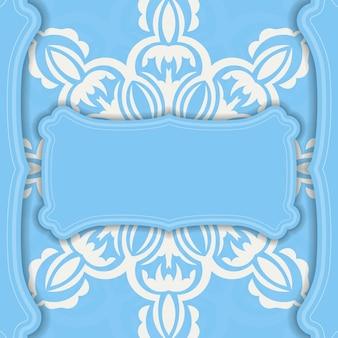 Blaues banner mit luxuriösem weißem ornament für das design unter ihrem logo