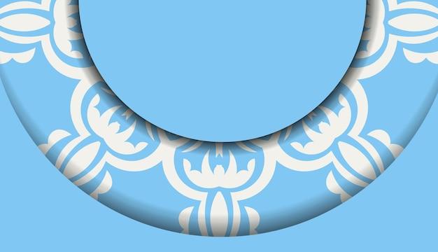 Blaues banner mit mandala-weiß-ornament und platz für ihr logo