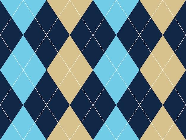Blaues beige argyle nahtloses muster