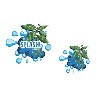 Blaues blaubeeren-frucht-frisches spritzen-saft-getränk-illustration