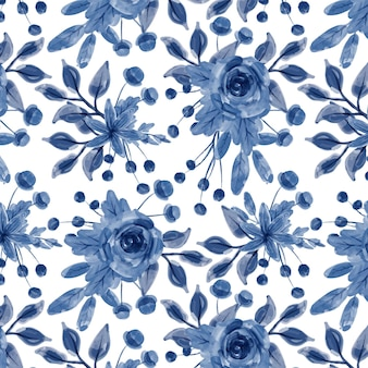 Blaues blumenaquarell nahtloses muster
