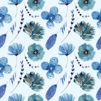 Blaues blumenaquarellmuster