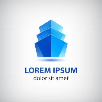 Blaues bürogebäude-logo lokalisiert auf grau