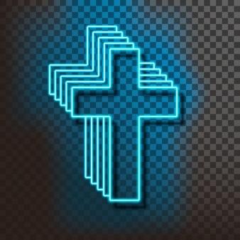 Blaues christliches neonkreuz auf blau