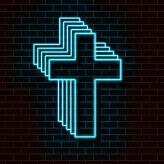 Blaues christliches neonkreuz auf einer backsteinmauer.