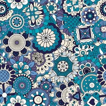 Blaues dekoratives mit blumenmuster