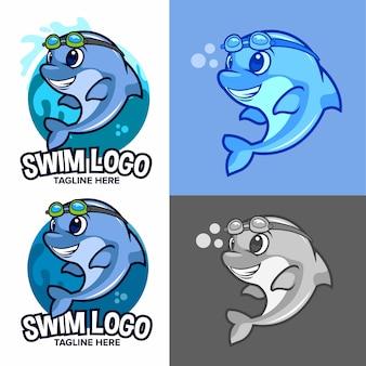 Blaues delphinschwimmen-schullogo mit karikaturmaskottchen