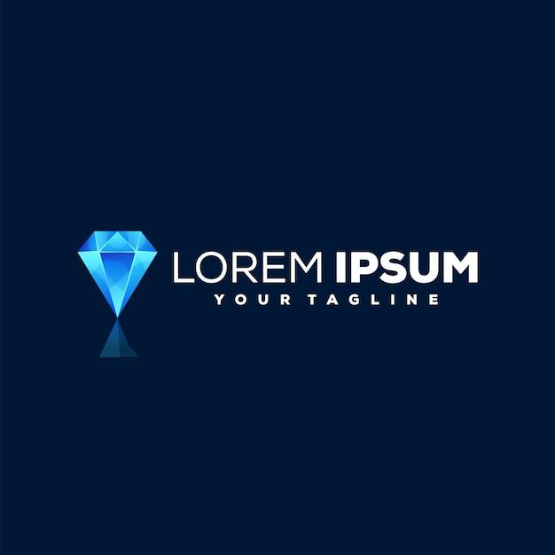 Blaues diamant-farbverlauf-logo-design