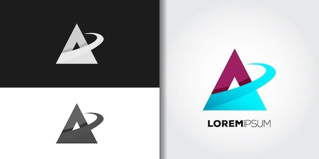 Blaues dreieck-logo gesetzt