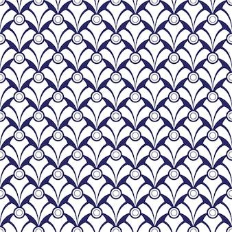 Blaues einfaches art deco wellenmuster