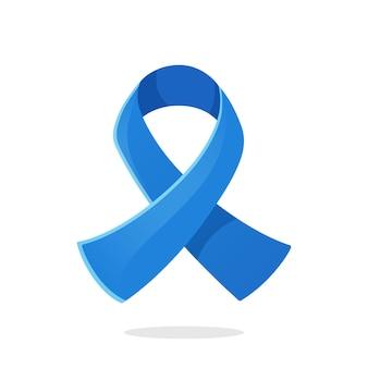 Blaues farbband internationales symbol für darmkrebsbewusstsein vector illustration