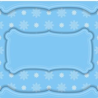 Blaues farbbanner mit indischem weißem muster für das design unter ihrem logo