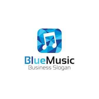 Blaues farbiges musik-logo