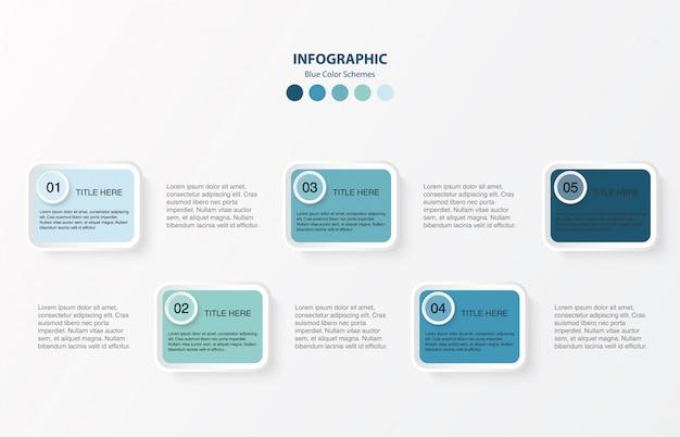 Blaues farbquadrat infografiken mit 4 schritten. infographic plandesign des modernen vektors.