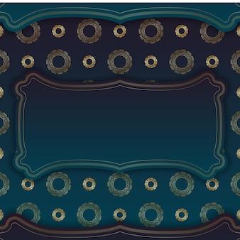 Blaues farbverlaufsbanner mit luxuriösem goldmuster und platz für logo oder text