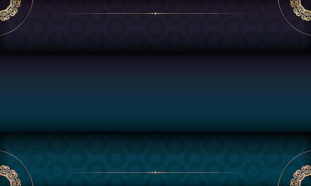 Blaues farbverlaufsbanner mit luxuriösem goldschmuck für logo- oder textdesign