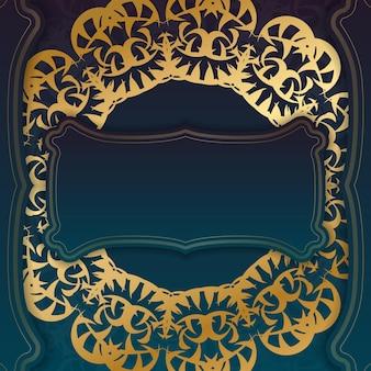Blaues farbverlaufsbanner mit vintage-goldmuster und platz für logo oder text