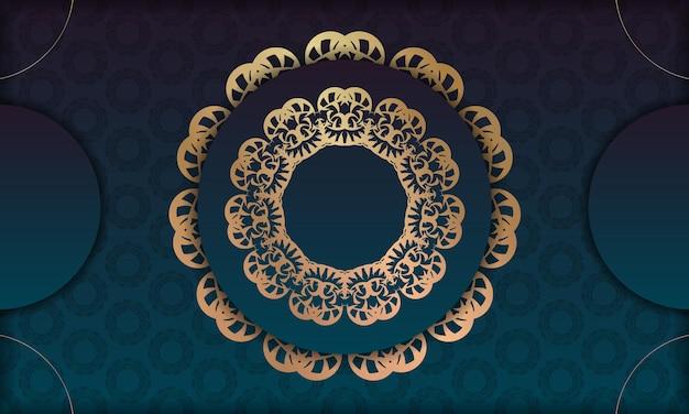 Blaues farbverlaufsbanner mit vintage-goldverzierung für logo- oder textdesign