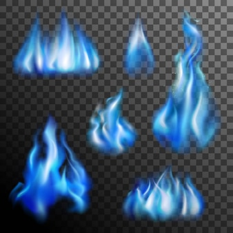 Blaues feuer transparent set
