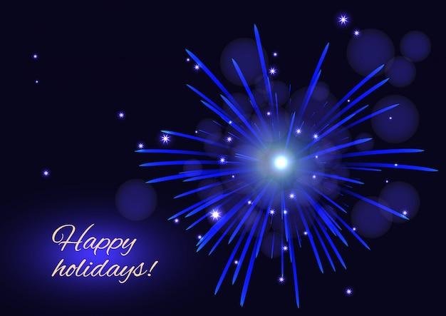 Blaues feuerwerk über sternenklarem nachthimmel, frohe feiertagskarte