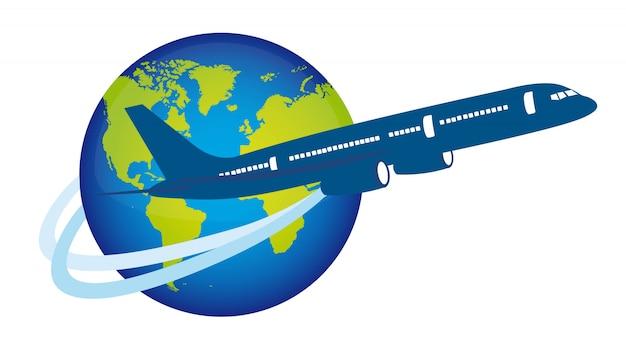 Blaues flugzeug über dem planeten